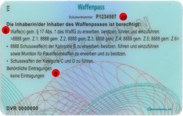 Österreichischer Waffenpass- Rückseite