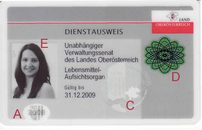 Vorderseite des Dienstausweises der Republik Österreich