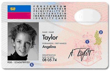 Identitätskarte Liechtenstein vorne
