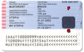 Rückseite des Personalausweises der Republik Österreich
