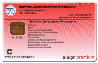 Sachverständigen Ausweis - Rückseite