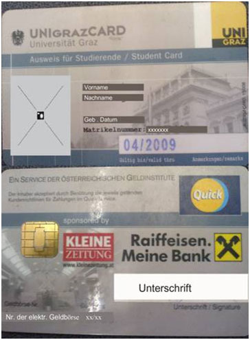 Studentenausweis der UNI Graz