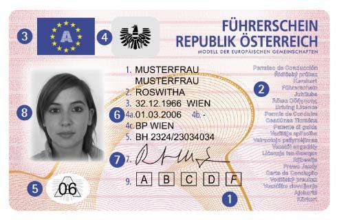 Österreichischer Scheckkartenführerschein - Vorderseite