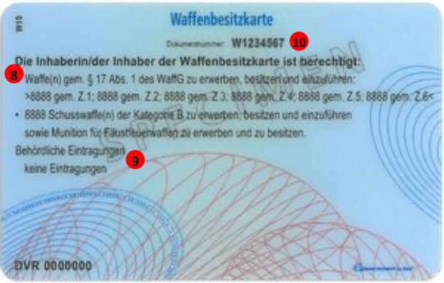 Österreichischer Waffenkarte- Rückseite