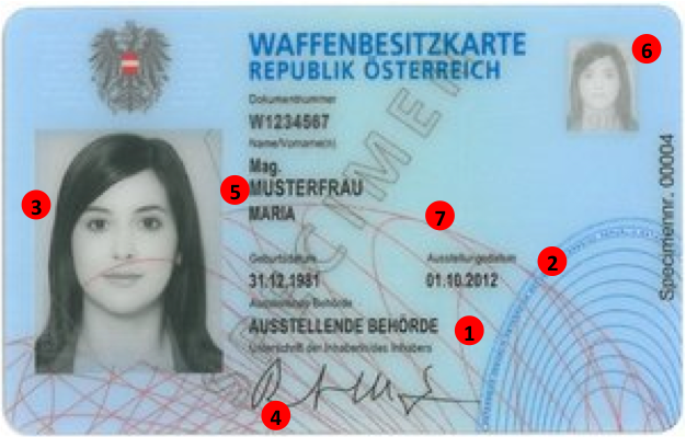 Österreichisch Waffenkarte- Vorderseite