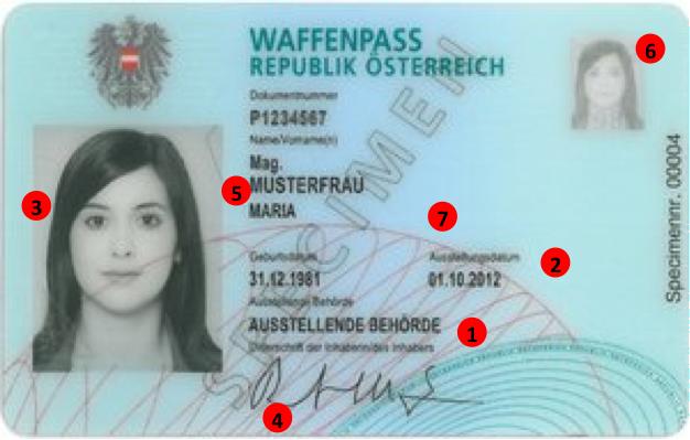 Österreichischer Waffenpass- Vorderseite